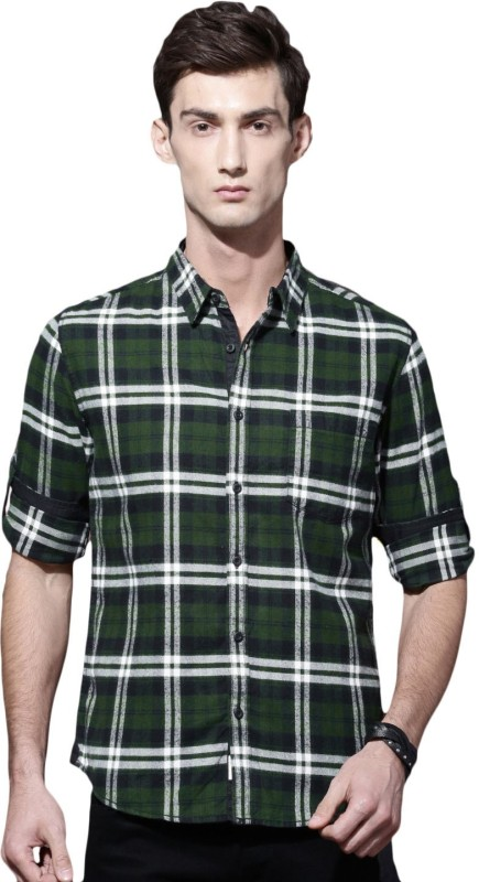 Roadster Men Checkered Casual Green, Black Shirt