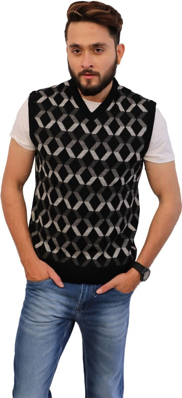 Knighthood by FBB Printed V-neck Casual Men Black Sweater