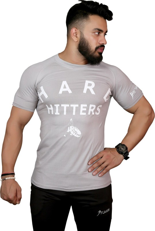 GREYWOLF FITNESS Printed Men's Round Neck Grey T-Shirt