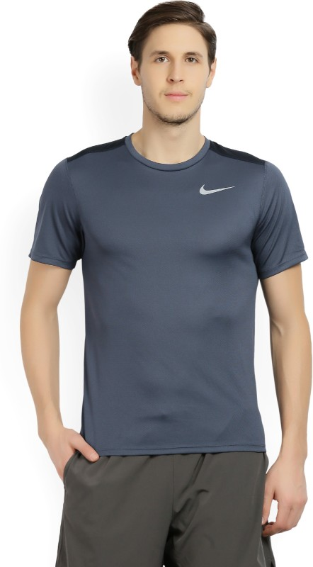 Nike Self Design Men's Round Neck Blue T-Shirt