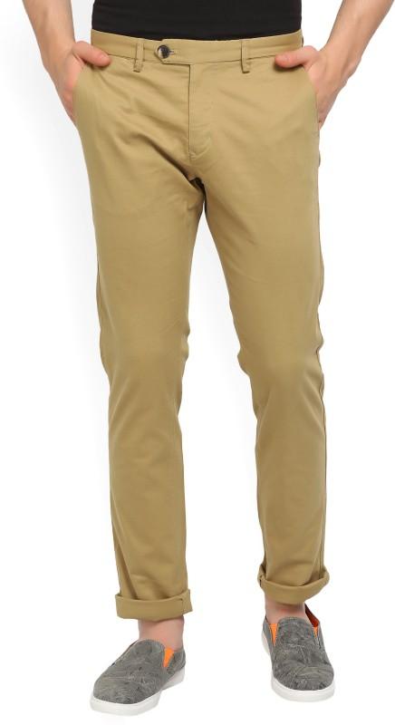 Peter England Slim Fit Mens Beige Trousers