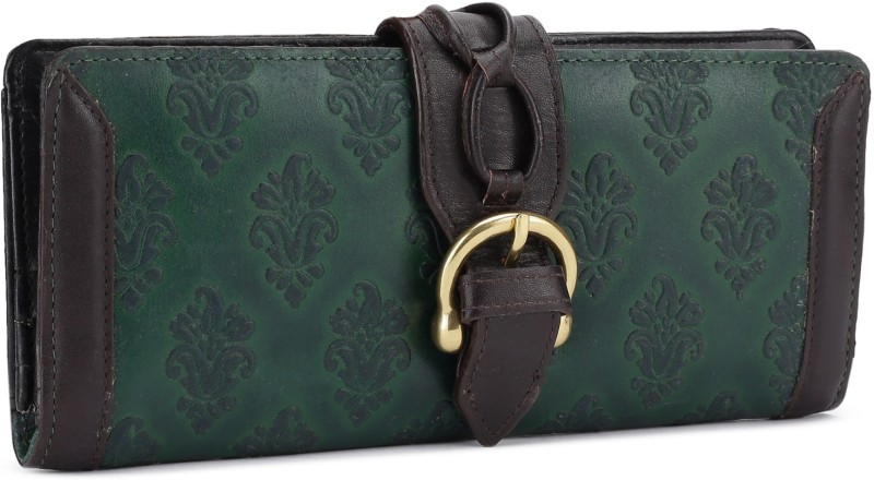 Holii Women Green Genuine Leather Wallet(13 Card Slots)