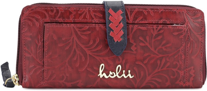 Holii Women Red Genuine Leather Wallet(8 Card Slots)