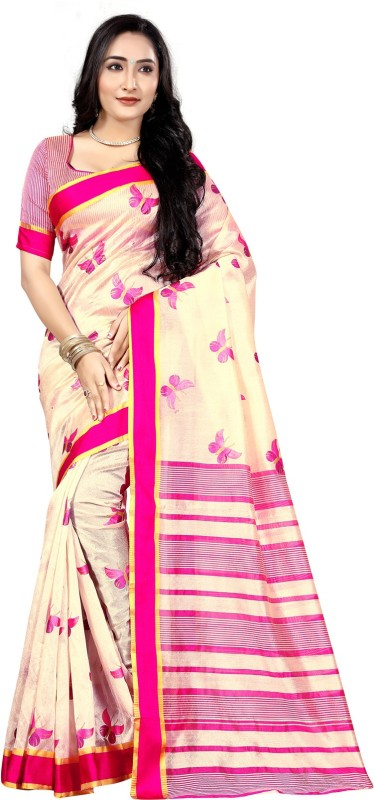 Bhuwal Fashion Hand Painted, Printed, Embellished, Self Design Pochampally Art Silk Saree(Beige, Pink, Gold)