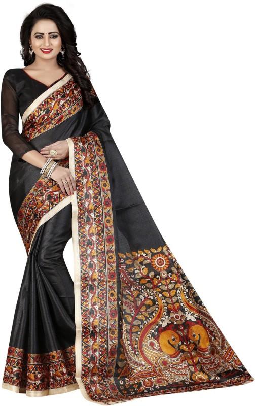 Active Floral Print Kalamkari Khadi Saree(Black)