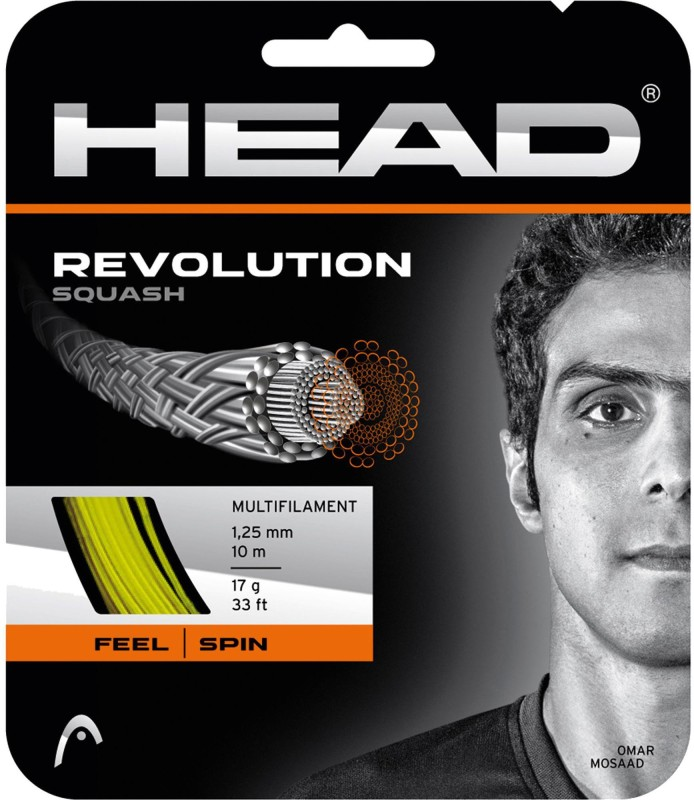 Head Revolution Squash 17 Squash String - 10 m(Yellow)