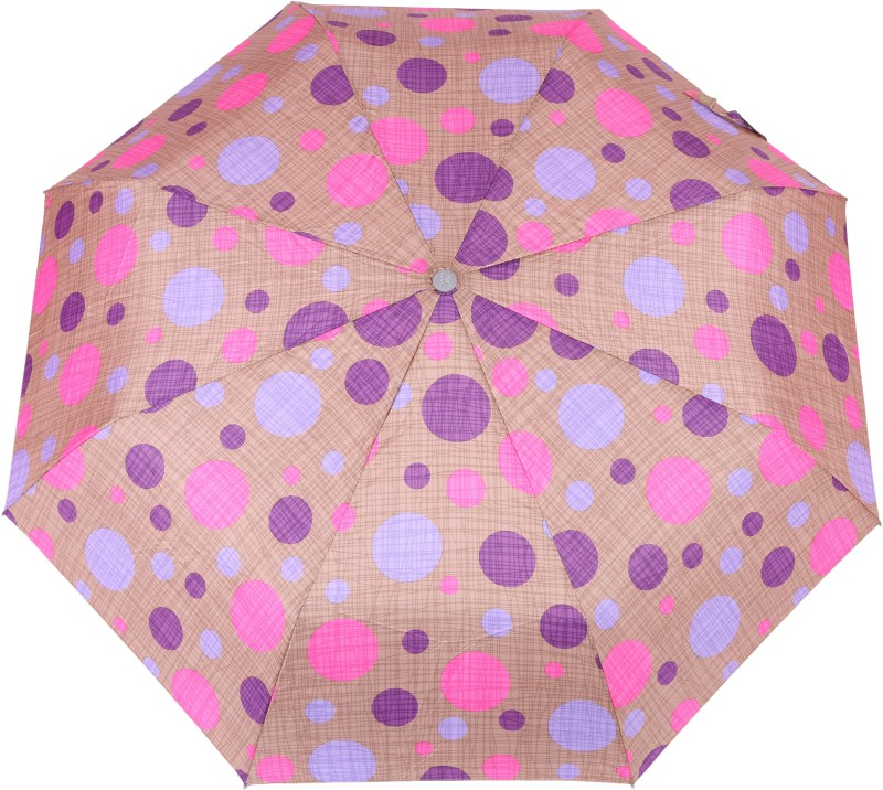 FabSeasons Circular Digital Printed, 3 Fold Fancy Automatic Umbrella for all Rains, Summer and all seasons Umbrella(Brown)
