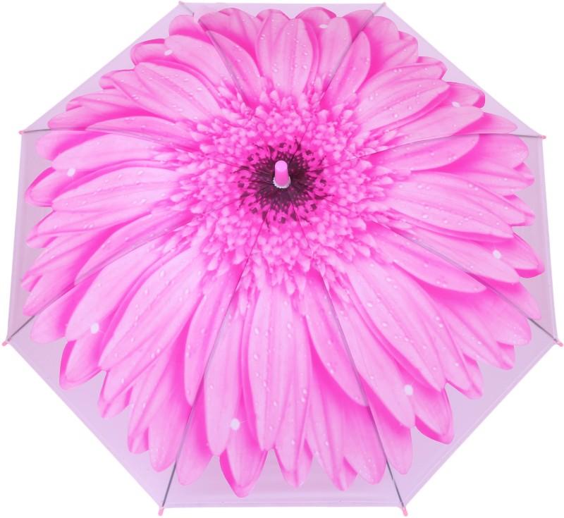 FabSeasons Kids Fancy 3D & Flowers Digital Printed, Single Fold Stick Umbrella For Rains, Summer and Sun Protection Umbrella(Pink)