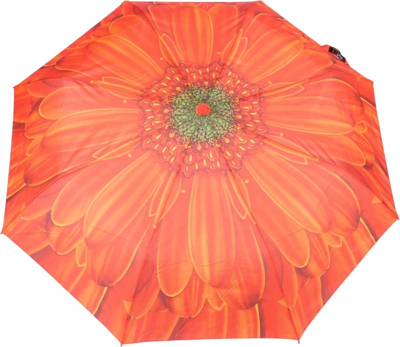 FabSeasons Flower / Floral Digital Printed Semi Automatic 3 fold Umbrella for Rains, Summer and all Seasons Umbrella(Orange)
