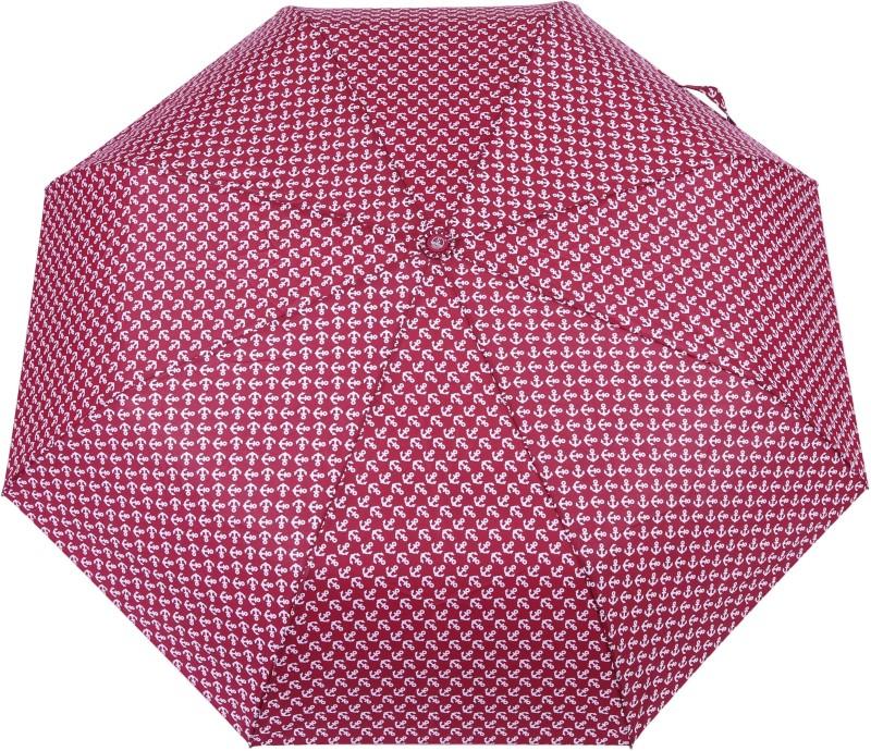 FabSeasons Anchor Digital Printed Automatic 3 fold Umbrella for Rains, Summer and all Seasons Umbrella(Maroon)