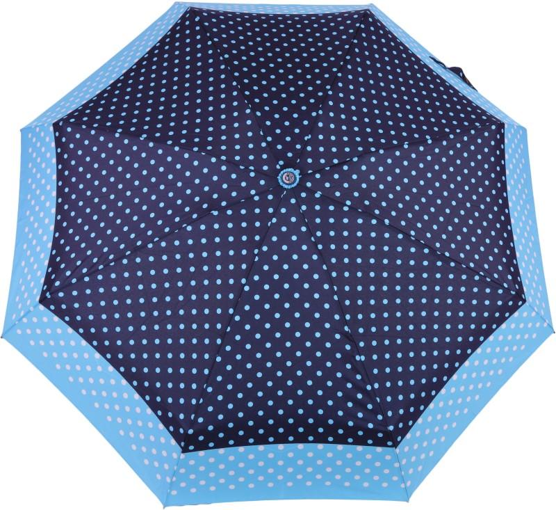 FabSeasons 5 fold Polka Dots Digital Printed Small Compact Manual Umbrella which fits in your Handbag for women Umbrella(Blue)