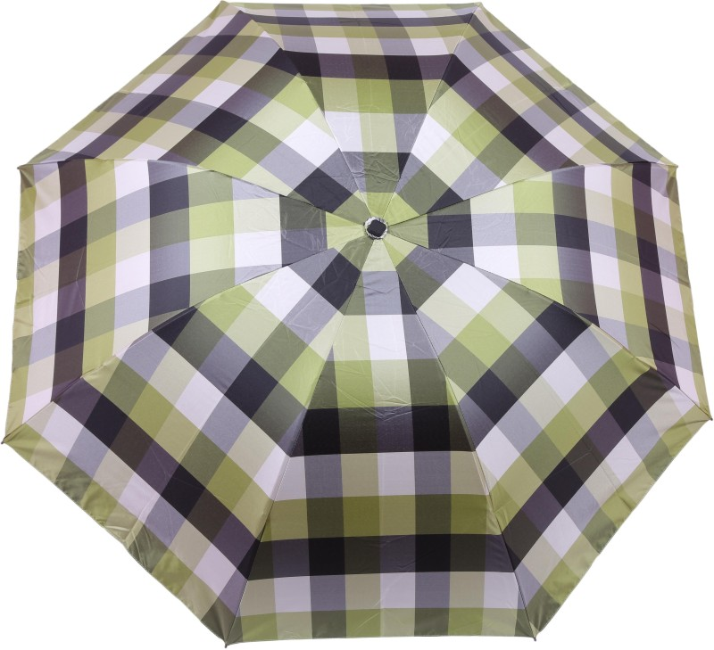 FabSeasons checks Digital Printed UV protected 3 Fold Manual Umbrella for Rains, Summer and all Seasons Umbrella(Green)