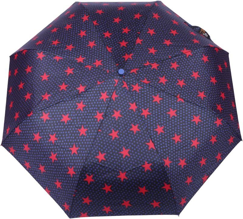 FabSeasons Star Digital Printed Semi Automatic 3 fold Umbrella for Rains, Summer and all Seasons Umbrella(Black)