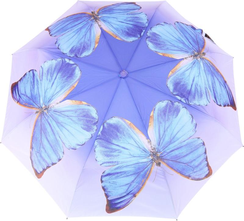 FabSeasons Butterly Digital Printed Automatic 3 fold Umbrella for Rains, Summer and all Seasons Umbrella(Blue)