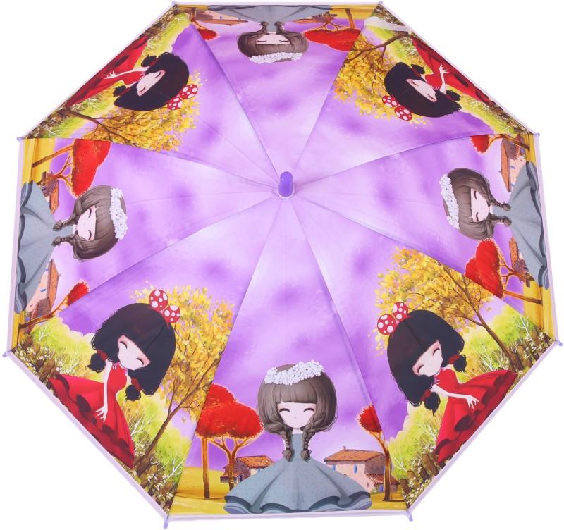 FabSeasons Kids Fancy 3D & Digital Printed, Single Fold Stick Umbrella For Rains, Summer and Sun Protection Umbrella(Purple)