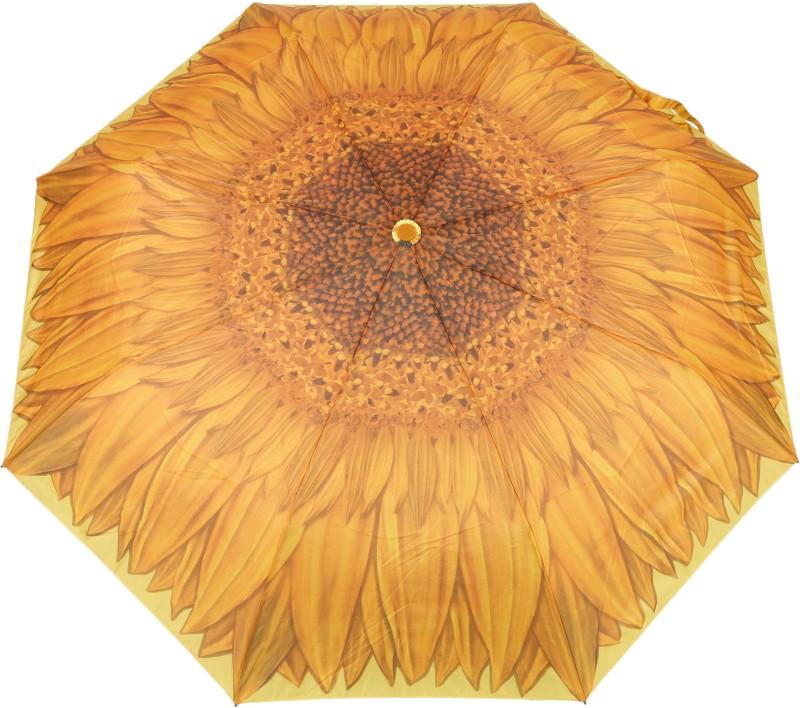 FabSeasons Flower / Floral Digital Printed Semi Automatic 3 fold Umbrella for Rains, Summer and all Seasons Umbrella(Yellow)