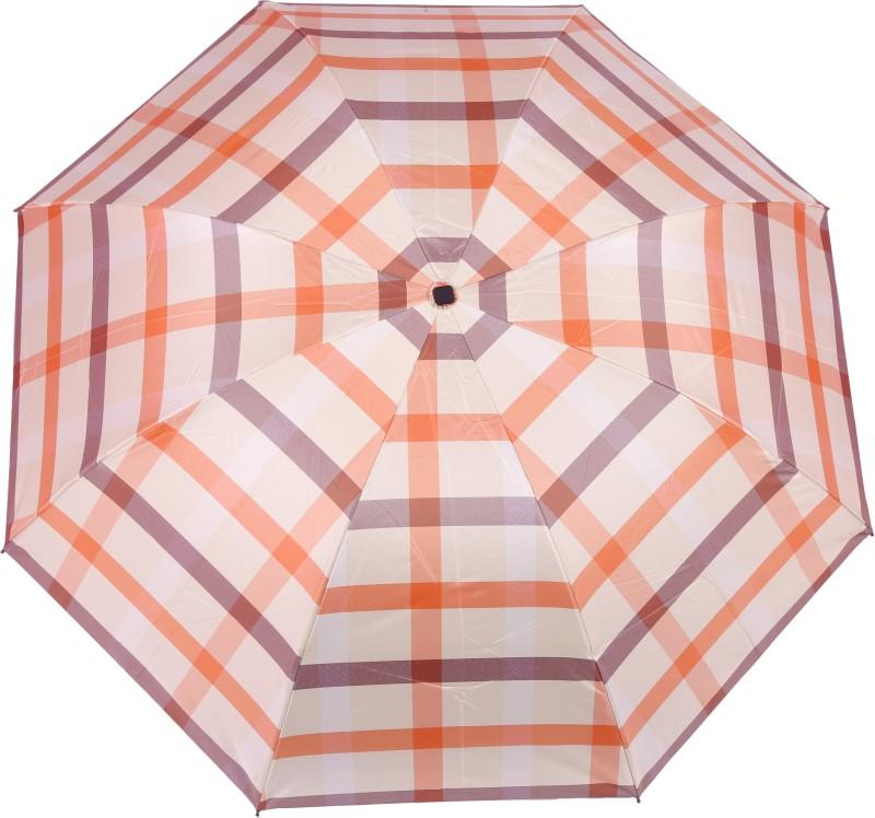 FabSeasons checks Digital Printed UV protected 3 Fold Manual Umbrella for Rains, Summer and all Seasons Umbrella(Beige)