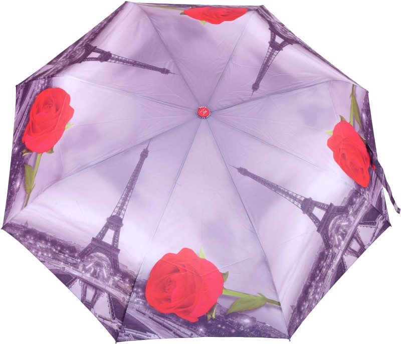 FabSeasons Paris Eiffel Tower with Red Rose Printed 3 Fold Automatic Umbrella for Rains, Summer and all Seasons Umbrella(Multicolor)