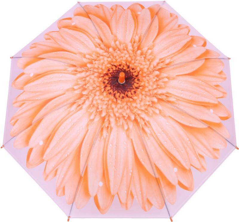 FabSeasons Kids Fancy 3D & Flowers Digital Printed, Single Fold Stick Umbrella For Rains, Summer and Sun Protection Umbrella(Orange)