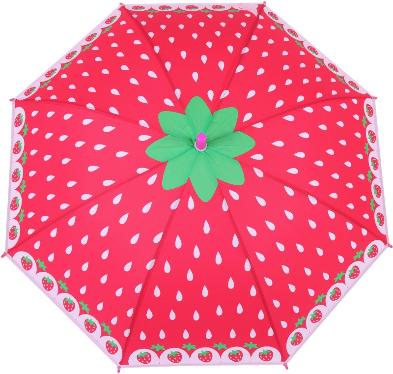 FabSeasons Kids Fancy Strawberry Printed, Single Fold, Stick Umbrella For Rains, Summer and Sun Protection Umbrella(Red)