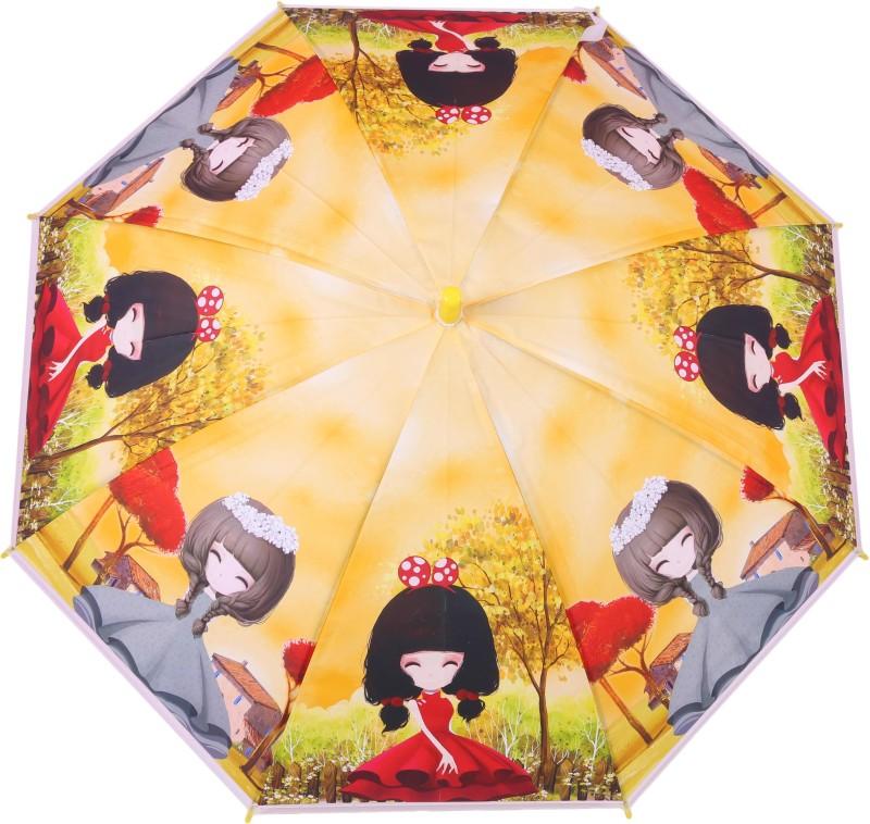 FabSeasons Kids Fancy 3D & Digital Printed, Single Fold Stick Umbrella For Rains, Summer and Sun Protection Umbrella(Yellow)