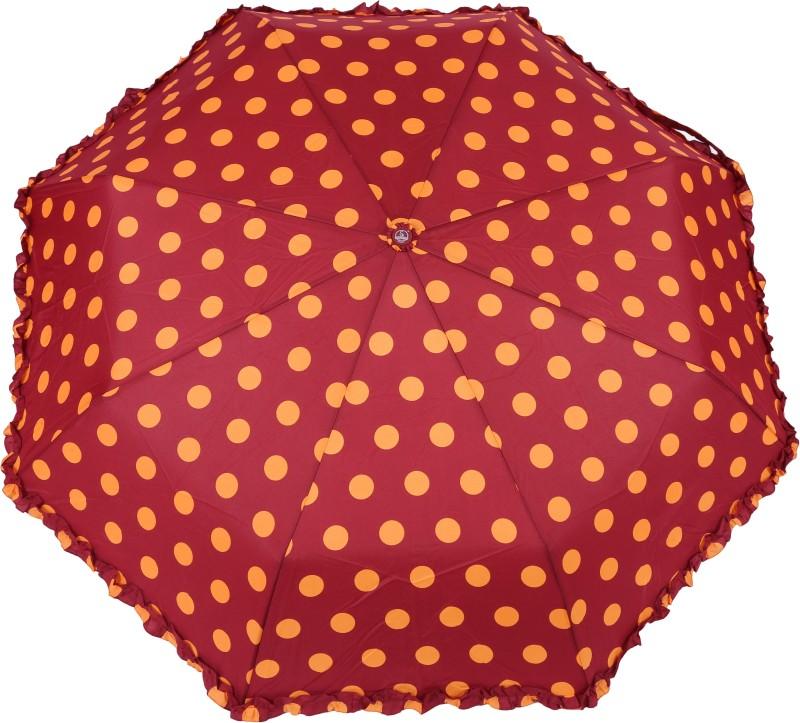 FabSeasons Big Polka Dots Digital Printed Automatic 3 Fold Umbrella with frills for Rains, Summer and all Seasons Umbrella(Maroon)