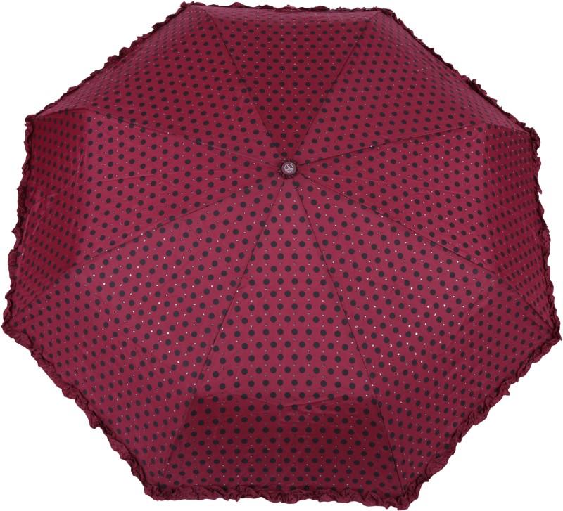 FabSeasons Polka Dots Digital Printed 3 Fold Automatic Umbrella with frills for Rains, Summer and all Seasons Umbrella(Maroon)