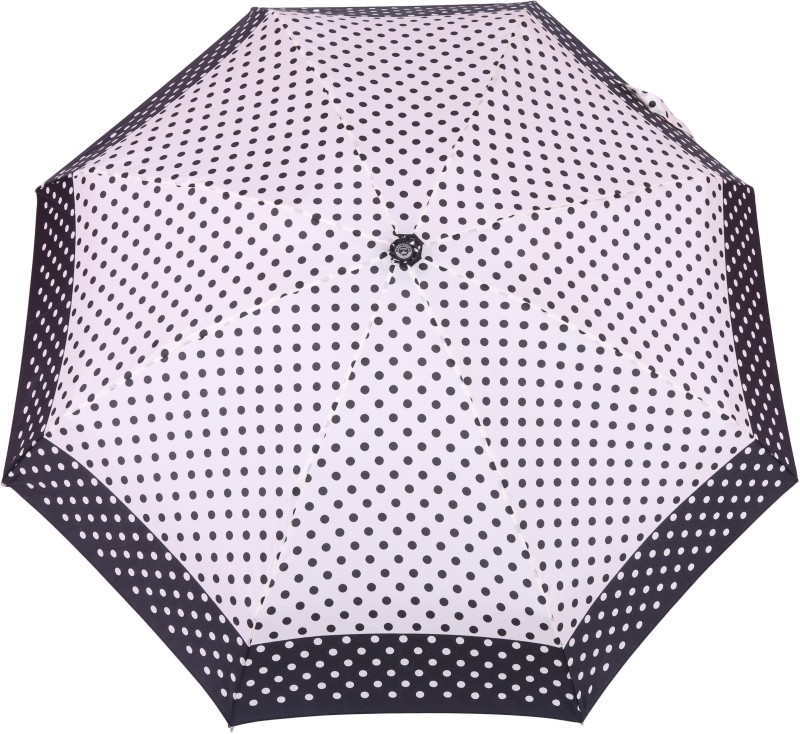 FabSeasons 5 fold Polka Dots Digital Printed Small Compact Manual Umbrella which fits in your Handbag for women Umbrella(White)