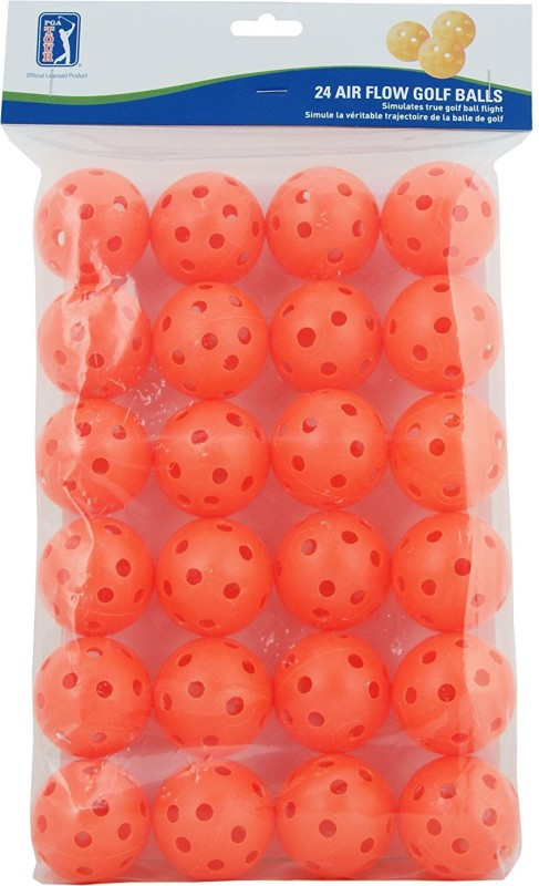 PGA TOUR Air Flow Practice Golf Balls, Pack of 24 (Yellow) Golf Ball(Pack of 24, Red)
