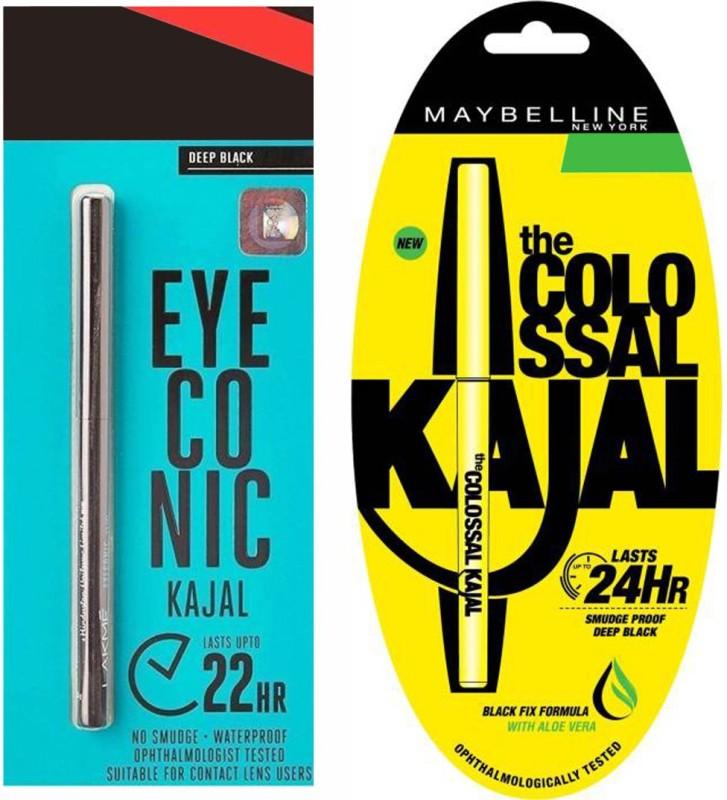 Maybelline COLLOSAL KAJAL 0.35gm AND LAKME EYECONIC KAJAL BLACK 0.35g 0.35 g (DEEP BLACK) 0.7 g(BLACK)