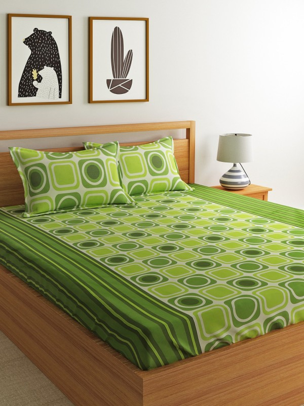 Dreamscape 144 TC Cotton Double Geometric Bedsheet(Pack of 1, Green)