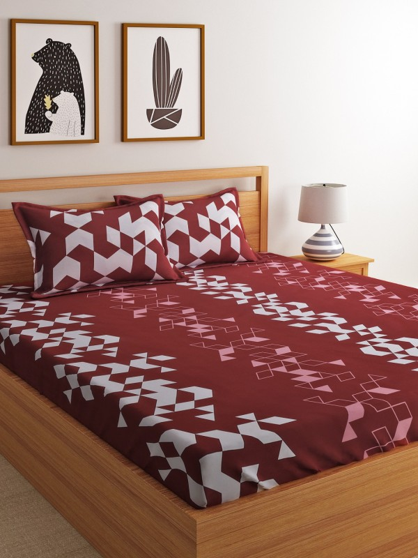 Dreamscape 144 TC Cotton Double Geometric Bedsheet(Pack of 1, Red)