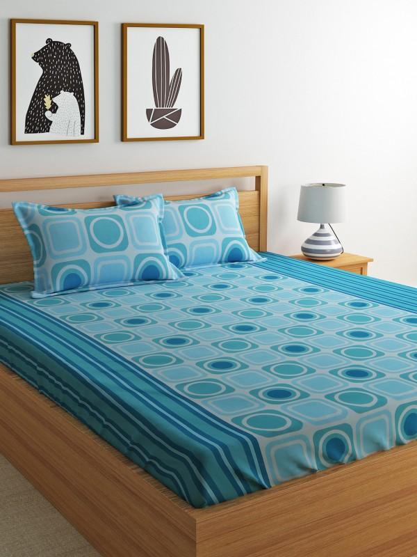 Dreamscape 144 TC Cotton Double Geometric Bedsheet(Pack of 3, Blue)