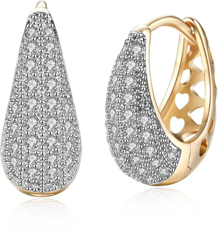 Yellow Chimes Dangler Crystal Earrings Brass Hoop Earring