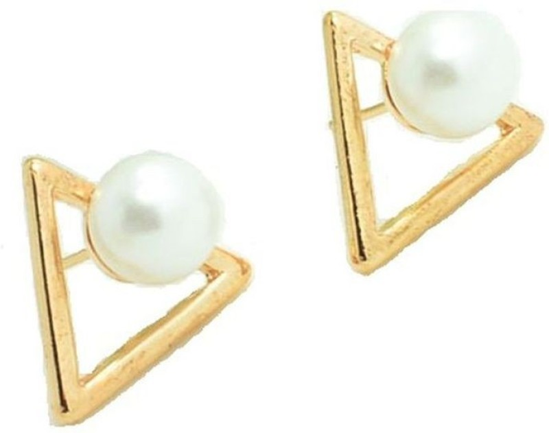 Shoppingworld19 Shopping World New Fashion For Women Lady Elegant Triangle Pearl Ear Cuff Ear Stud Earrings Pearl Alloy Stud Earring