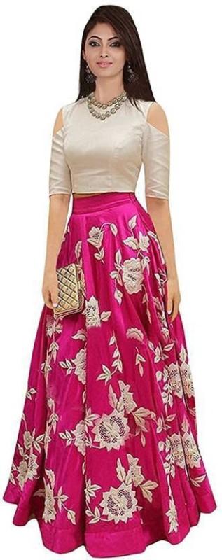 Active Embroidered Lehenga Choli(Pink, Beige)