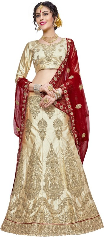 Manvaa Embroidered Semi Stitched Lehenga, Choli and Dupatta Set(Multicolor)