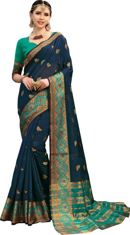 Aashvi Creation Self Design Kanjivaram Cotton Silk, Banarasi Silk, Art Silk, Jacquard...