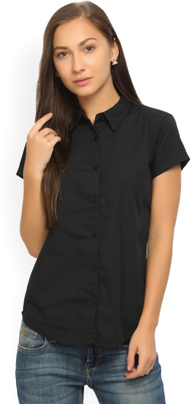 Wrangler Women Solid Casual Black Shirt