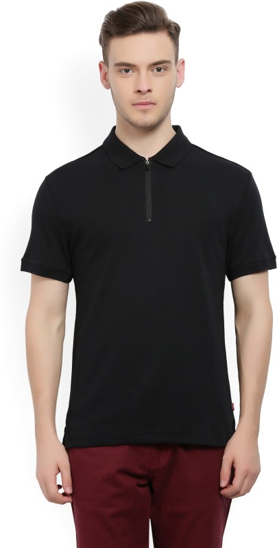 Levis Solid Men Polo Neck Black T-Shirt