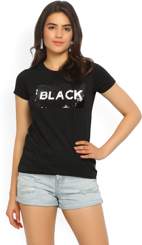 Wrangler Self Design Womens Round Neck Black T-Shirt