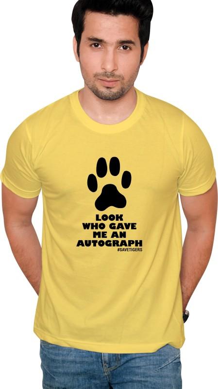 Jolly Good Fellow Printed Men's Round Neck Yellow T-Shirt