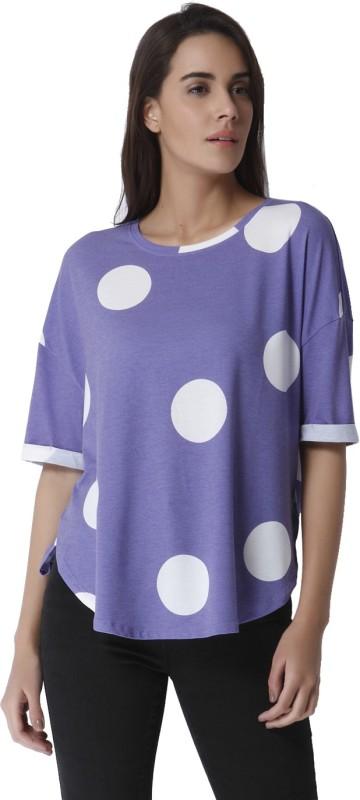 Vero Moda Casual Half Sleeve Printed Women's Purple Top