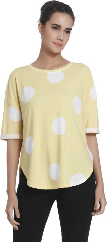 Vero Moda Casual Half Sleeve Printed Women's Yellow Top