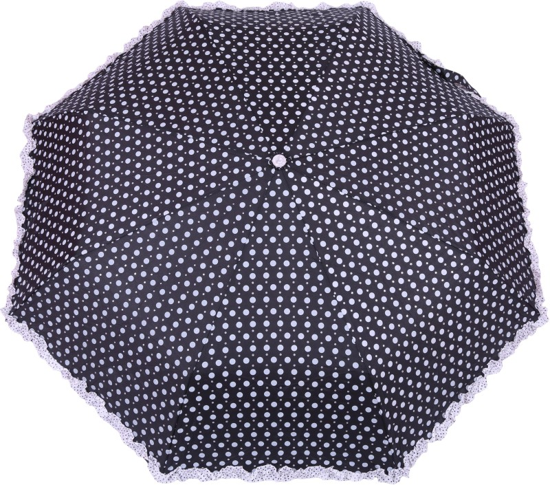 FabSeasons Polka Dots Digital Printed 3 Fold Automatic Umbrella with frills for Rains, Summer and all Seasons Umbrella(Black)