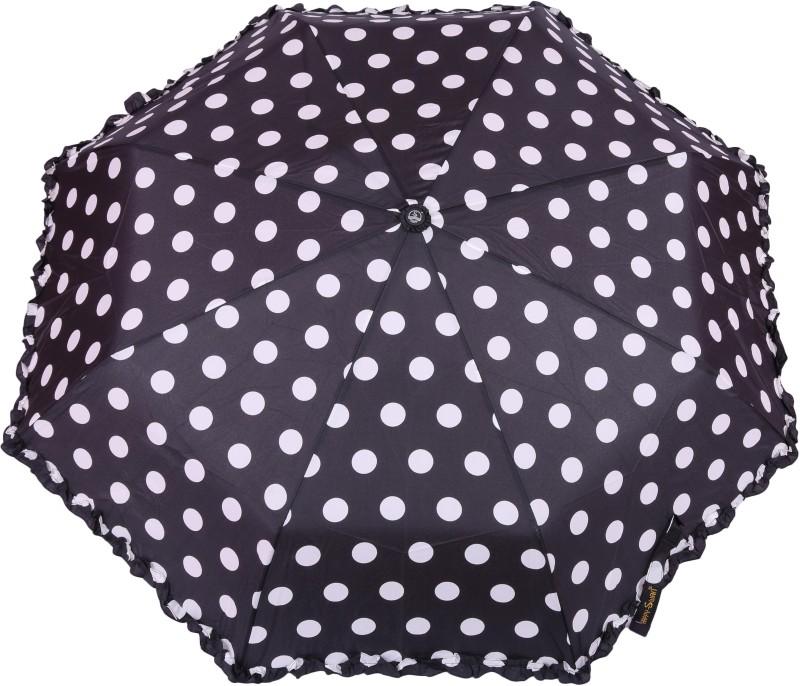 FabSeasons Big Polka Dots Digital Printed Automatic 3 Fold Umbrella with frills for Rains, Summer and all Seasons Umbrella(Black)