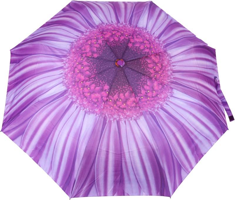 FabSeasons Flower / Floral Digital Printed Semi Automatic 3 fold Umbrella for Rains, Summer and all Seasons Umbrella(Purple)