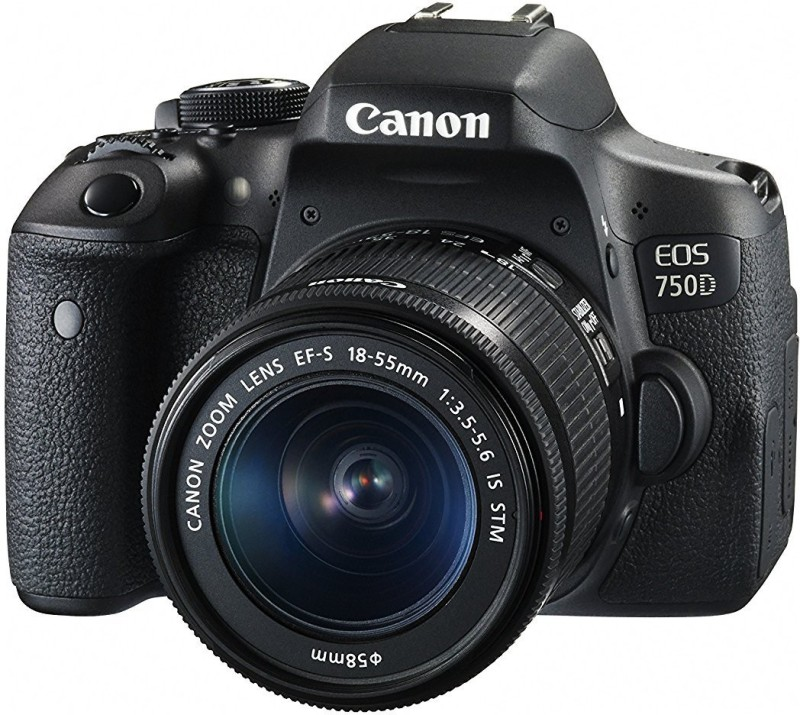 Canon EOS 750D_EF-S18-55 DSLR Camera EOS 750D 24.2MP Digital SLR Camera (Black) + 18-55 IS STM Lens + Memory Card + Carry Bag(Black)