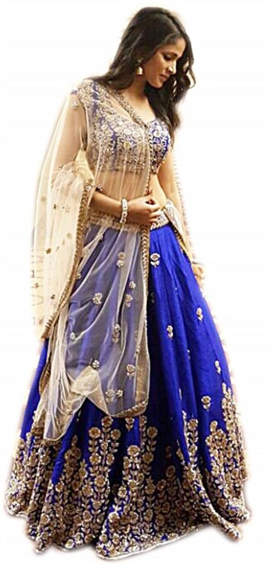 Florence Embroidered Lehenga Choli(Blue, Beige)