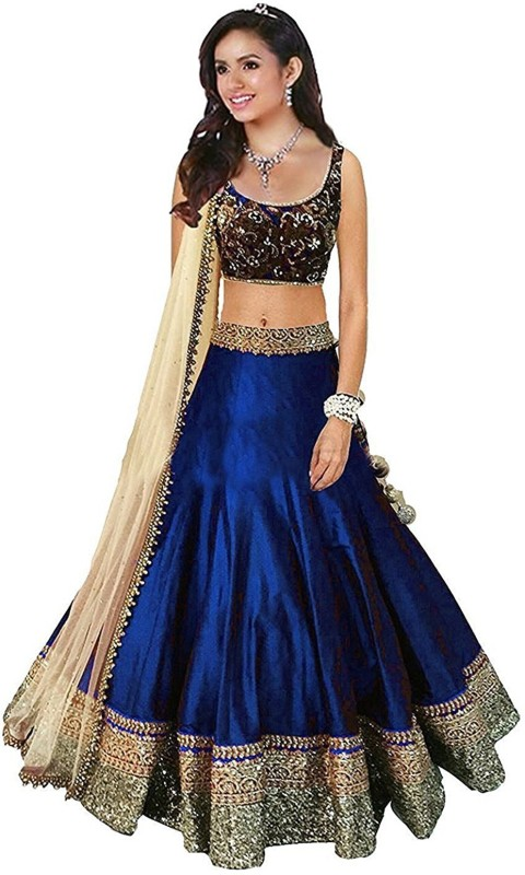 Florence Embroidered, Embellished Lehenga, Choli and Dupatta Set(Multicolor)
